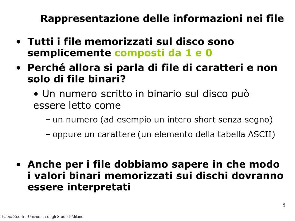 Fabio Scotti – Università degli Studi di Milano 36 agenda.c (1) #include int main() { char nome[256], cognome[256], tel[256]; char finito; char nomefile[]= rubrica.txt ; FILE *Fp1; // Apro il file in modalita append testo Fp1 = fopen(nomefile, a ); if (Fp1==NULL){ printf( File %s not found\n , nomefile); exit(-1); } printf( Il puntatore (*Fp) al file %s e %d\n\n , nomefile, Fp1);