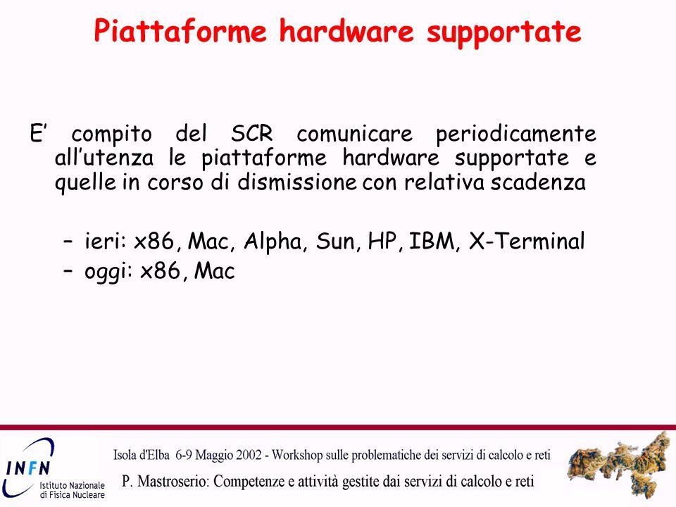 Piattaforme hardware supportate E' compito del SCR comunicare periodicamente all'utenza le piattaforme hardware supportate e quelle in corso di dismissione con relativa scadenza –ieri: x86, Mac, Alpha, Sun, HP, IBM, X-Terminal –oggi: x86, Mac