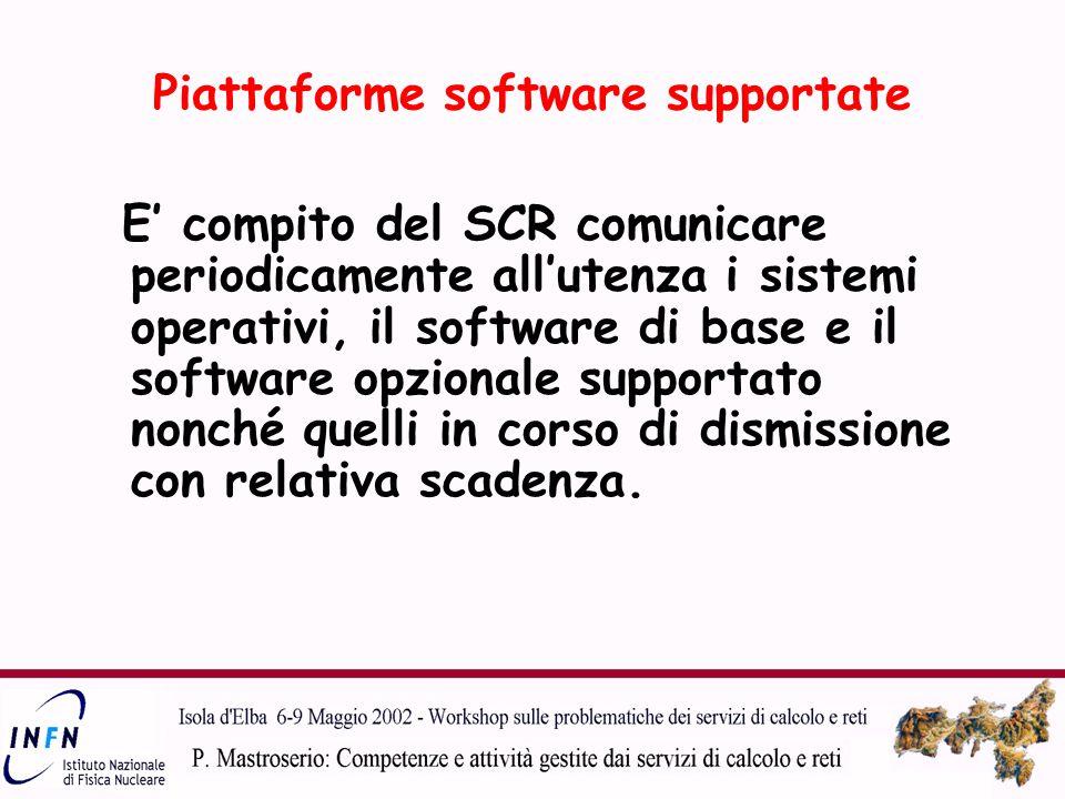 Piattaforme software supportate E' compito del SCR comunicare periodicamente all'utenza i sistemi operativi, il software di base e il software opzionale supportato nonché quelli in corso di dismissione con relativa scadenza.