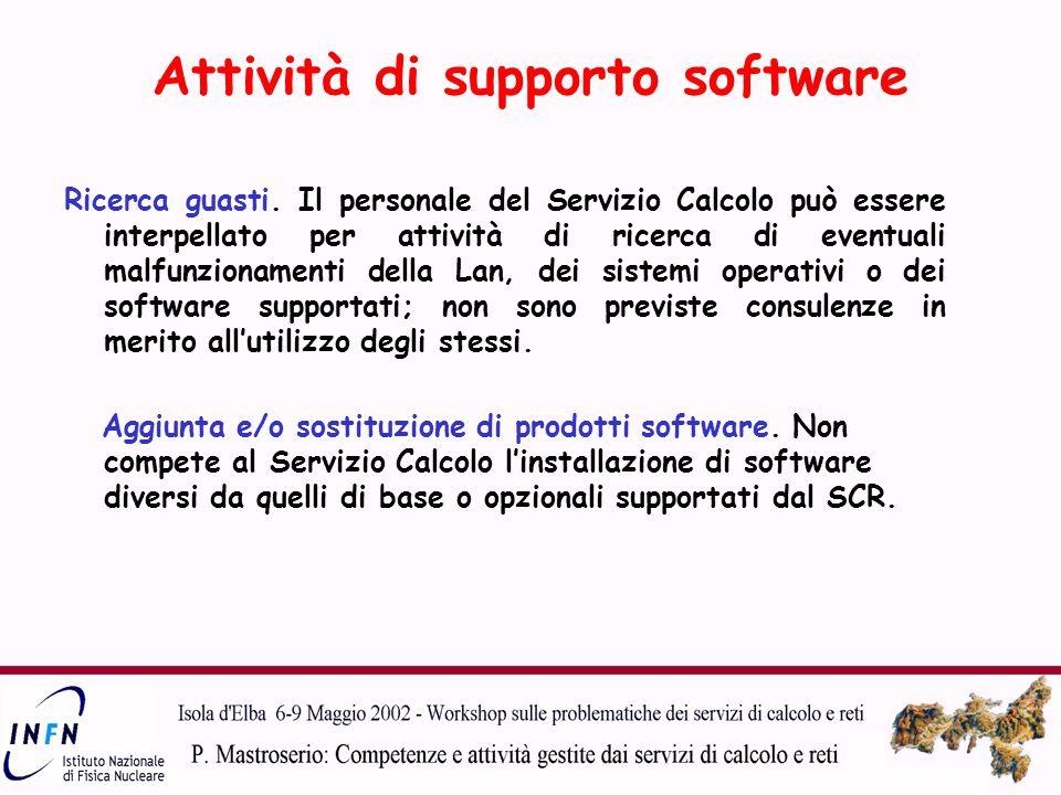 Attività di supporto software Ricerca guasti.