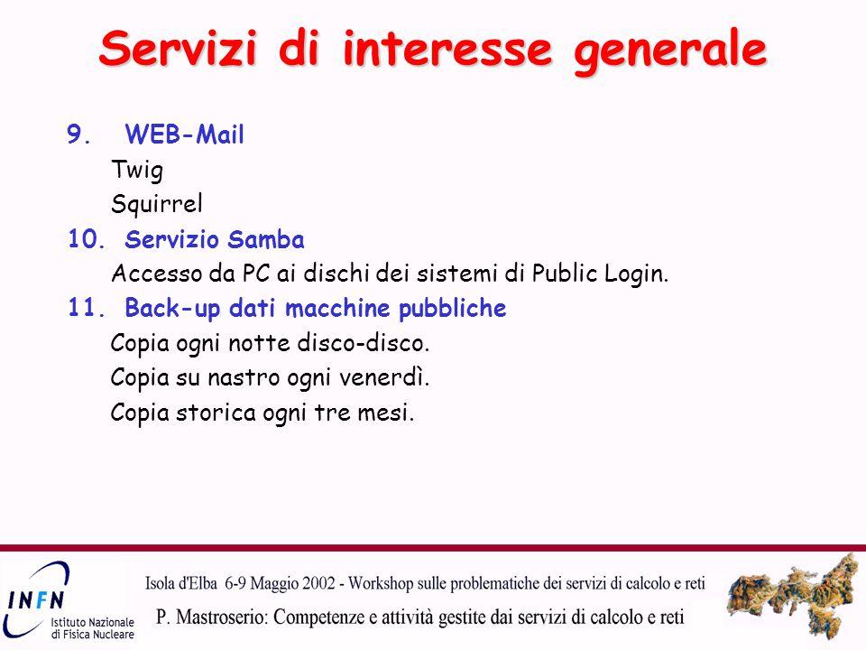 9.WEB-Mail Twig Squirrel 10.Servizio Samba Accesso da PC ai dischi dei sistemi di Public Login.
