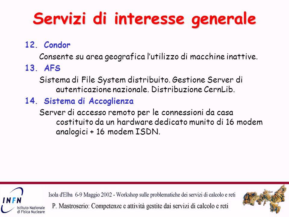 Servizi di interesse generale 12.Condor Consente su area geografica l'utilizzo di macchine inattive.