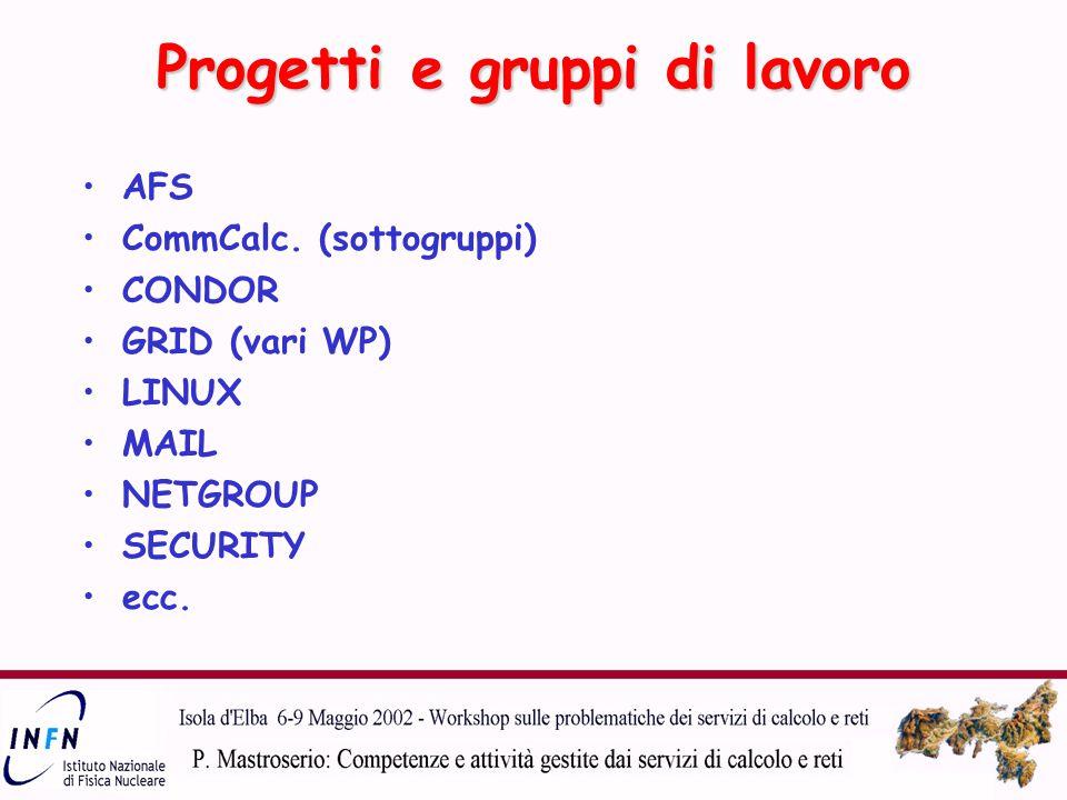 Progetti e gruppi di lavoro AFS CommCalc.