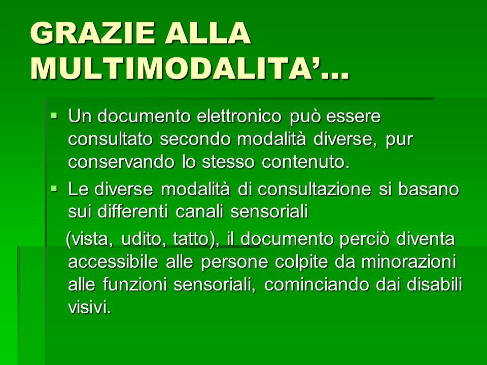 GRAZIE ALLA MULTIMODALITA'…  Un documento elettronico può essere consultato secondo modalità diverse, pur conservando lo stesso contenuto.  Le diver