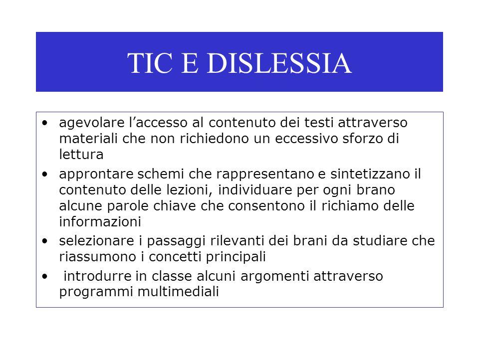 TIC E DISLESSIA agevolare l'accesso al contenuto dei testi attraverso materiali che non richiedono un eccessivo sforzo di lettura approntare schemi ch