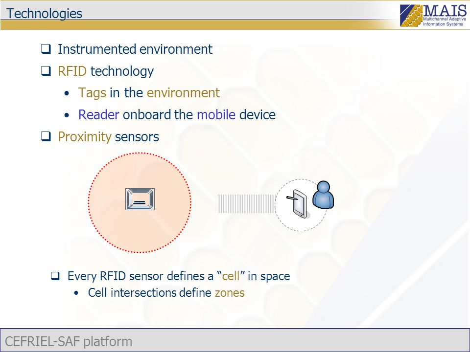 CEFRIEL-SAF platform Technologies  Instrumented environment  RFID technology Tags in the environment Reader onboard the mobile device  Proximity se