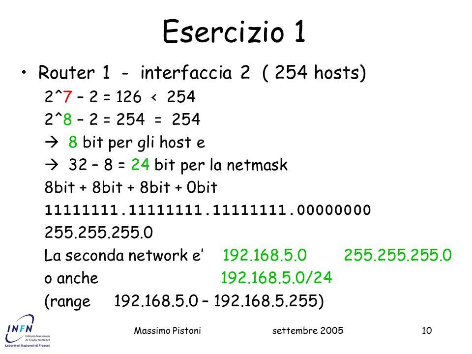 settembre 2005Massimo Pistoni10 Esercizio 1 Router 1 - interfaccia 2 ( 254 hosts) 2^7 – 2 = 126 < 254 2^8 – 2 = 254 = 254  8 bit per gli host e  32 – 8 = 24 bit per la netmask 8bit + 8bit + 8bit + 0bit 11111111.11111111.11111111.00000000 255.255.255.0 La seconda network e' 192.168.5.0 255.255.255.0 o anche 192.168.5.0/24 (range 192.168.5.0 – 192.168.5.255)