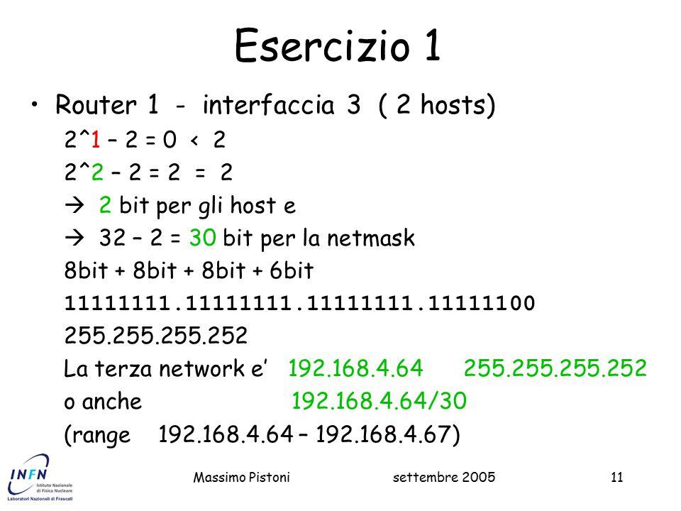 settembre 2005Massimo Pistoni11 Esercizio 1 Router 1 - interfaccia 3 ( 2 hosts) 2^1 – 2 = 0 < 2 2^2 – 2 = 2 = 2  2 bit per gli host e  32 – 2 = 30 bit per la netmask 8bit + 8bit + 8bit + 6bit 11111111.11111111.11111111.11111100 255.255.255.252 La terza network e' 192.168.4.64 255.255.255.252 o anche 192.168.4.64/30 (range 192.168.4.64 – 192.168.4.67)