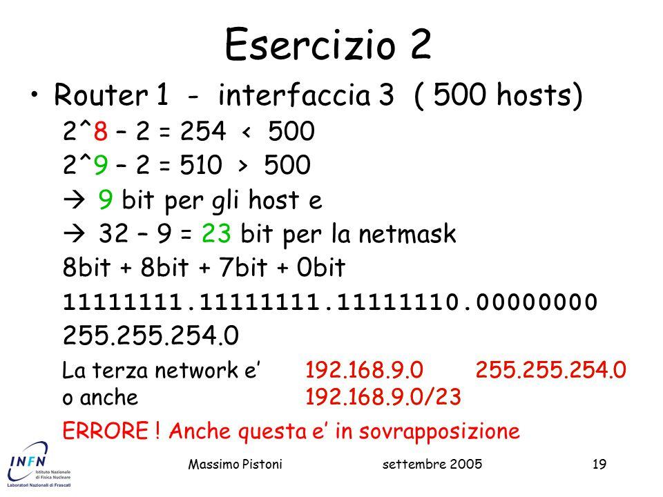 settembre 2005Massimo Pistoni19 Esercizio 2 Router 1 - interfaccia 3 ( 500 hosts) 2^8 – 2 = 254 < 500 2^9 – 2 = 510 > 500  9 bit per gli host e  32 – 9 = 23 bit per la netmask 8bit + 8bit + 7bit + 0bit 11111111.11111111.11111110.00000000 255.255.254.0 192.168.9.0 255.255.254.0 192.168.9.0/23 ERRORE .