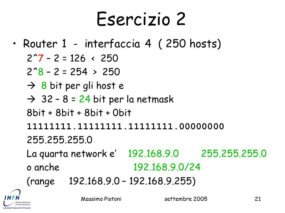 settembre 2005Massimo Pistoni21 Esercizio 2 Router 1 - interfaccia 4 ( 250 hosts) 2^7 – 2 = 126 < 250 2^8 – 2 = 254 > 250  8 bit per gli host e  32 – 8 = 24 bit per la netmask 8bit + 8bit + 8bit + 0bit 11111111.11111111.11111111.00000000 255.255.255.0 La quarta network e' 192.168.9.0 255.255.255.0 o anche 192.168.9.0/24 (range 192.168.9.0 – 192.168.9.255)