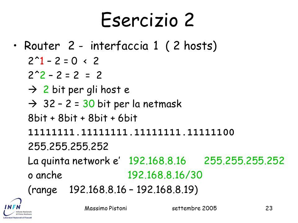 settembre 2005Massimo Pistoni23 Esercizio 2 Router 2 - interfaccia 1 ( 2 hosts) 2^1 – 2 = 0 < 2 2^2 – 2 = 2 = 2  2 bit per gli host e  32 – 2 = 30 bit per la netmask 8bit + 8bit + 8bit + 6bit 11111111.11111111.11111111.11111100 255.255.255.252 La quinta network e' 192.168.8.16 255.255.255.252 o anche 192.168.8.16/30 (range 192.168.8.16 – 192.168.8.19)