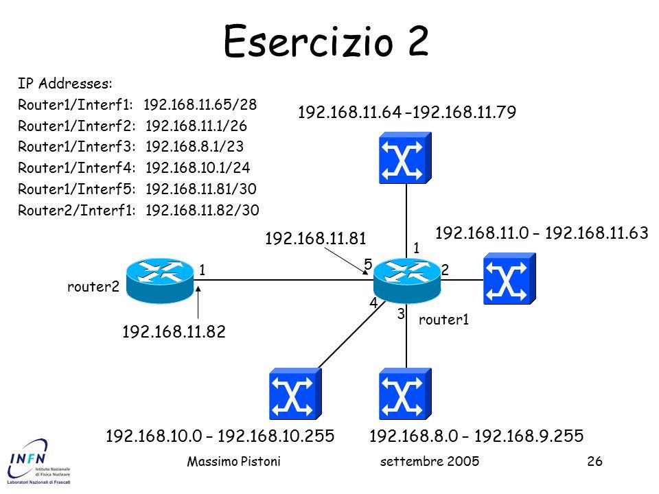 settembre 2005Massimo Pistoni26 192.168.11.64 –192.168.11.79 192.168.11.0 – 192.168.11.63 router2 router1 1 2 3 5 Esercizio 2 4 IP Addresses: Router1/Interf1: 192.168.11.65/28 Router1/Interf2: 192.168.11.1/26 Router1/Interf3: 192.168.8.1/23 Router1/Interf4: 192.168.10.1/24 Router1/Interf5: 192.168.11.81/30 Router2/Interf1: 192.168.11.82/30 192.168.8.0 – 192.168.9.255192.168.10.0 – 192.168.10.255 192.168.11.81 192.168.11.82 1