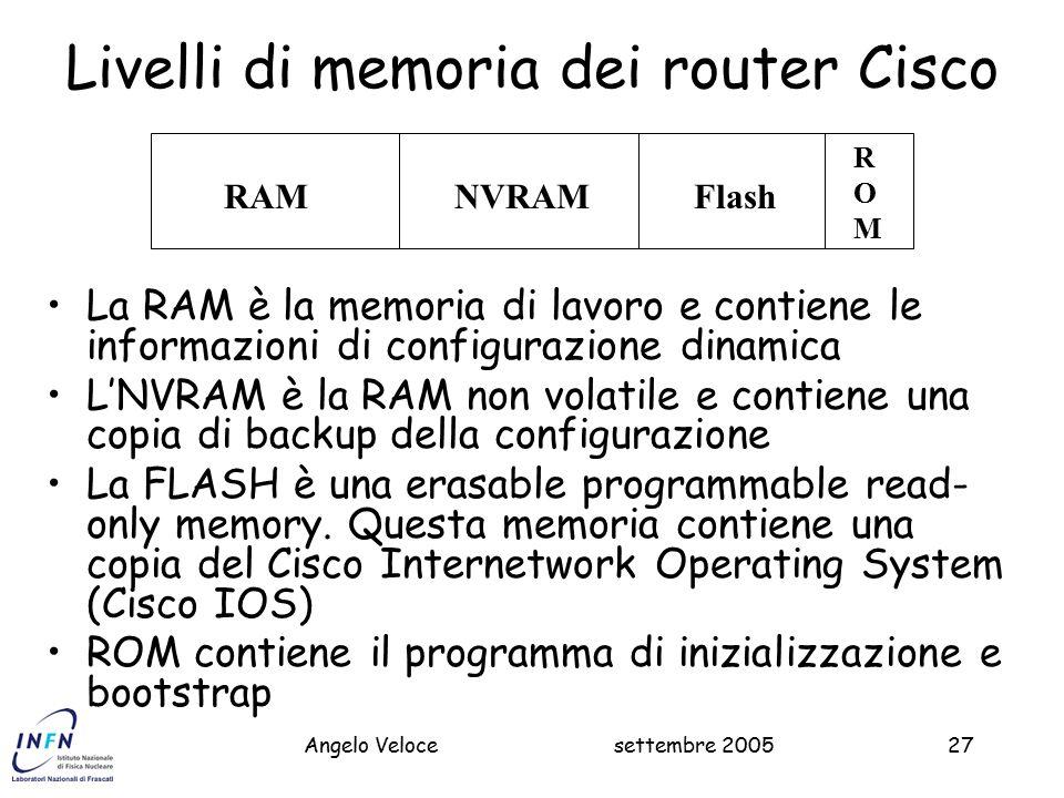 settembre 2005Massimo Pistoni27 Livelli di memoria dei router Cisco La RAM è la memoria di lavoro e contiene le informazioni di configurazione dinamica L'NVRAM è la RAM non volatile e contiene una copia di backup della configurazione La FLASH è una erasable programmable read- only memory.