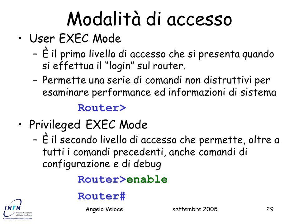 settembre 2005Massimo Pistoni29 Modalità di accesso User EXEC Mode –È il primo livello di accesso che si presenta quando si effettua il login sul router.