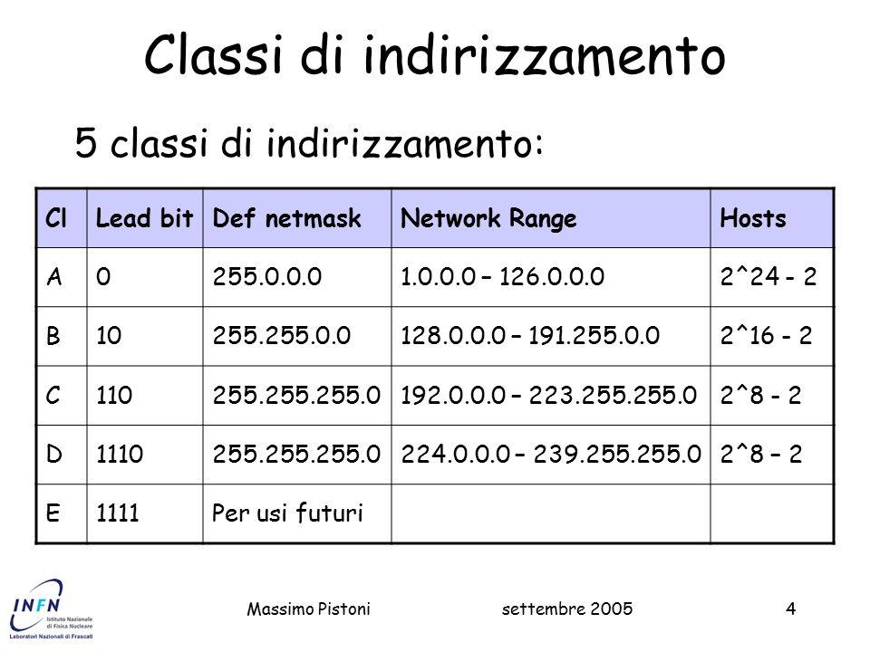 settembre 2005Massimo Pistoni4 Classi di indirizzamento 5 classi di indirizzamento: ClLead bitDef netmaskNetwork RangeHosts A0255.0.0.01.0.0.0 – 126.0.0.02^24 - 2 B10255.255.0.0128.0.0.0 – 191.255.0.02^16 - 2 C110255.255.255.0192.0.0.0 – 223.255.255.02^8 - 2 D1110255.255.255.0224.0.0.0 – 239.255.255.02^8 – 2 E1111Per usi futuri