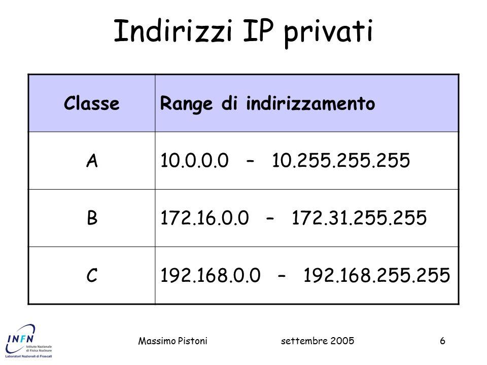 settembre 2005Massimo Pistoni6 Indirizzi IP privati ClasseRange di indirizzamento A10.0.0.0 – 10.255.255.255 B172.16.0.0 – 172.31.255.255 C192.168.0.0 – 192.168.255.255