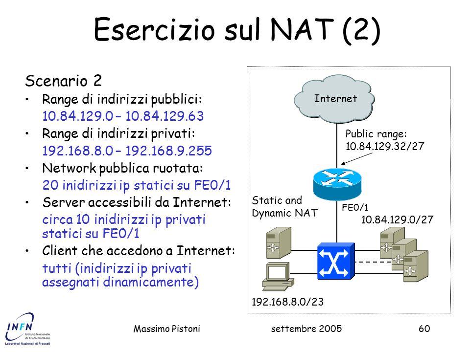 settembre 2005Massimo Pistoni60 Esercizio sul NAT (2) Public range: 10.84.129.32/27 Internet 10.84.129.0/27 192.168.8.0/23 Scenario 2 Range di indirizzi pubblici: 10.84.129.0 – 10.84.129.63 Range di indirizzi privati: 192.168.8.0 – 192.168.9.255 Network pubblica ruotata: 20 inidirizzi ip statici su FE0/1 Server accessibili da Internet: circa 10 inidirizzi ip privati statici su FE0/1 Client che accedono a Internet: tutti (inidirizzi ip privati assegnati dinamicamente) Static and Dynamic NAT FE0/1