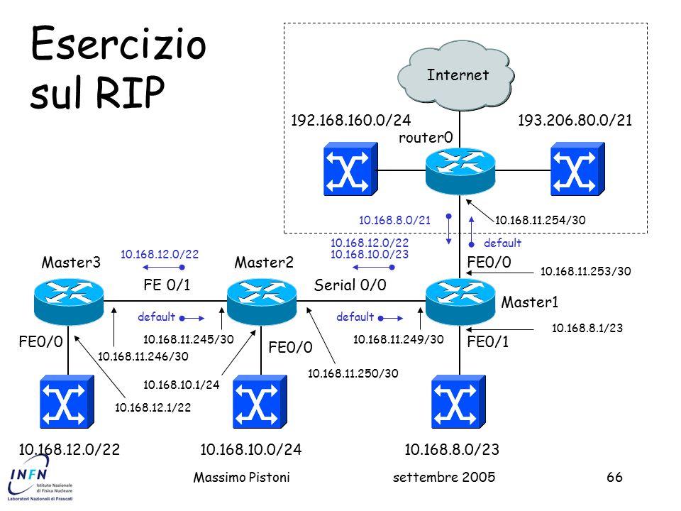 settembre 2005Massimo Pistoni66 193.206.80.0/21 Master1 FE0/0 2 Esercizio sul RIP 10.168.8.0/23 192.168.160.0/24 FE0/1 10.168.8.0/21 router0 10.168.11.254/30 10.168.11.253/30 10.168.8.1/23 Internet Master2 10.168.10.0/24 FE0/0 FE 0/1 10.168.12.0/22 Serial 0/0 10.168.11.249/30 10.168.11.250/30 10.168.10.1/24 10.168.10.0/23 default 10.168.11.245/30 10.168.11.246/30 FE0/0 Master3 default 10.168.12.0/22 10.168.12.1/22 10.168.12.0/22