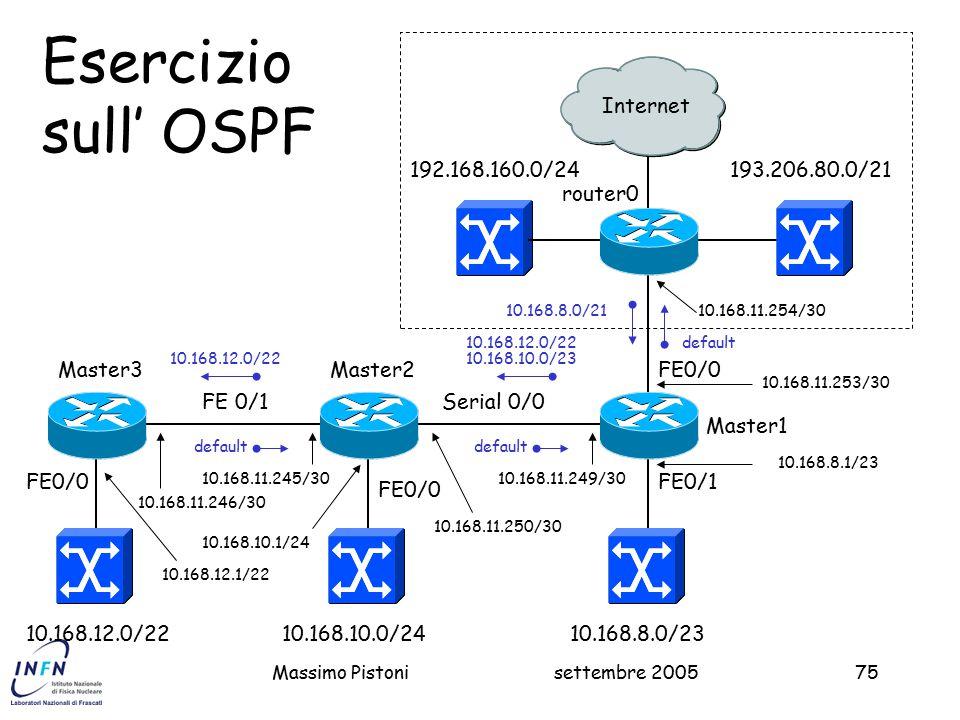 settembre 2005Massimo Pistoni75 193.206.80.0/21 Master1 FE0/0 2 Esercizio sull' OSPF 10.168.8.0/23 192.168.160.0/24 FE0/1 10.168.8.0/21 router0 10.168.11.254/30 10.168.11.253/30 10.168.8.1/23 Internet Master2 10.168.10.0/24 FE0/0 FE 0/1 10.168.12.0/22 Serial 0/0 10.168.11.249/30 10.168.11.250/30 10.168.10.1/24 10.168.10.0/23 default 10.168.11.245/30 10.168.11.246/30 FE0/0 Master3 default 10.168.12.0/22 10.168.12.1/22 10.168.12.0/22