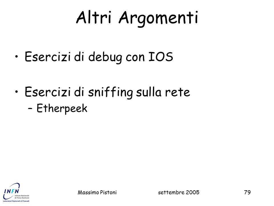 settembre 2005Massimo Pistoni79 Altri Argomenti Esercizi di debug con IOS Esercizi di sniffing sulla rete –Etherpeek