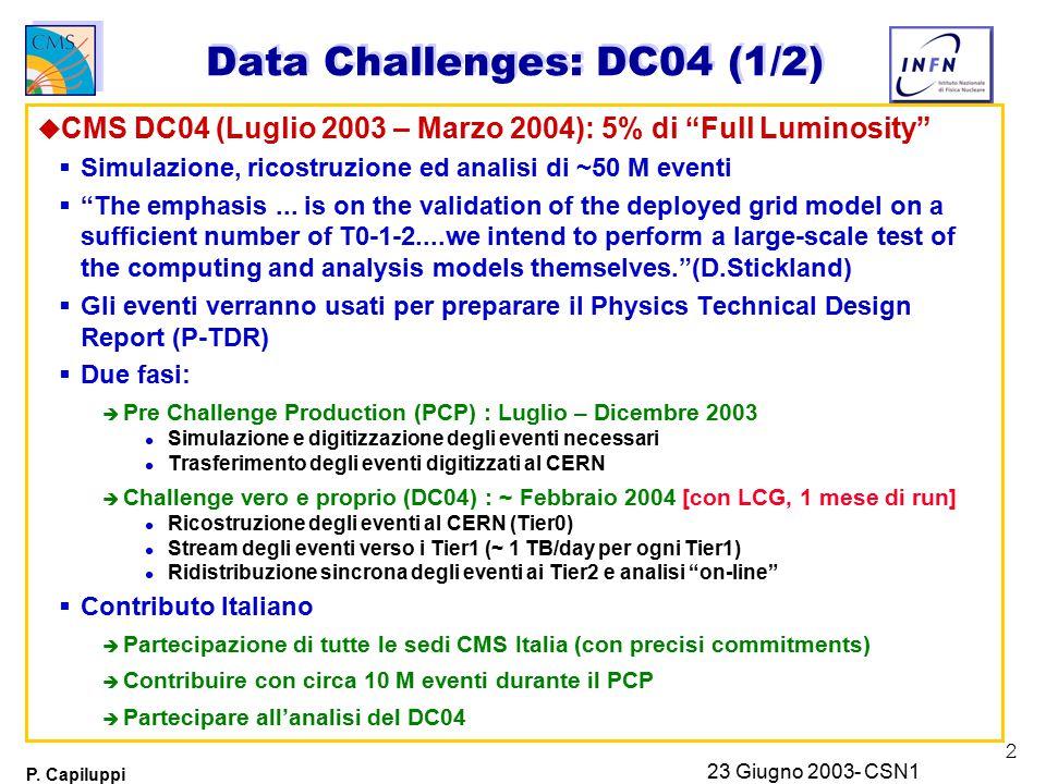 """2 P. Capiluppi 23 Giugno 2003- CSN1 Data Challenges: DC04 (1/2) u CMS DC04 (Luglio 2003 – Marzo 2004): 5% di """"Full Luminosity""""  Simulazione, ricostru"""