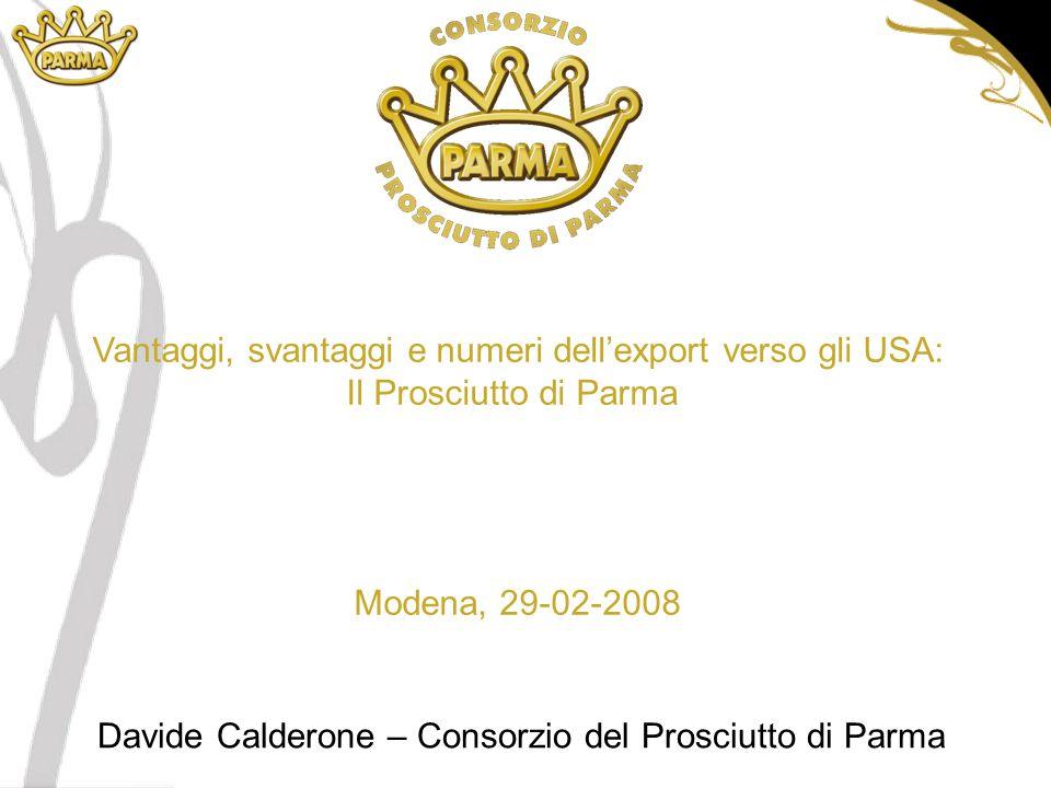 Vantaggi, svantaggi e numeri dell'export verso gli USA: Il Prosciutto di Parma Modena, 29-02-2008 Davide Calderone – Consorzio del Prosciutto di Parma