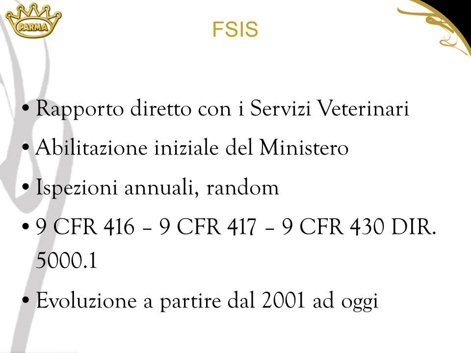 FSIS Rapporto diretto con i Servizi Veterinari Abilitazione iniziale del Ministero Ispezioni annuali, random 9 CFR 416 – 9 CFR 417 – 9 CFR 430 DIR.