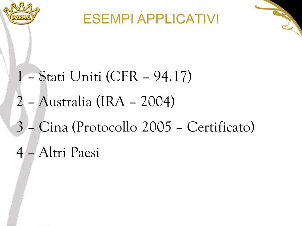 ESEMPI APPLICATIVI 1 – Stati Uniti (CFR – 94.17) 2 – Australia (IRA – 2004) 3 – Cina (Protocollo 2005 – Certificato) 4 – Altri Paesi