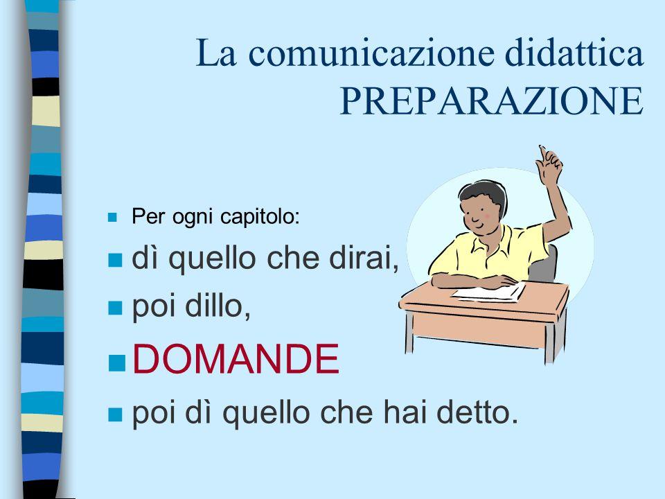 La comunicazione didattica PREPARAZIONE n Per ogni capitolo: n dì quello che dirai, n poi dillo, n DOMANDE n poi dì quello che hai detto.