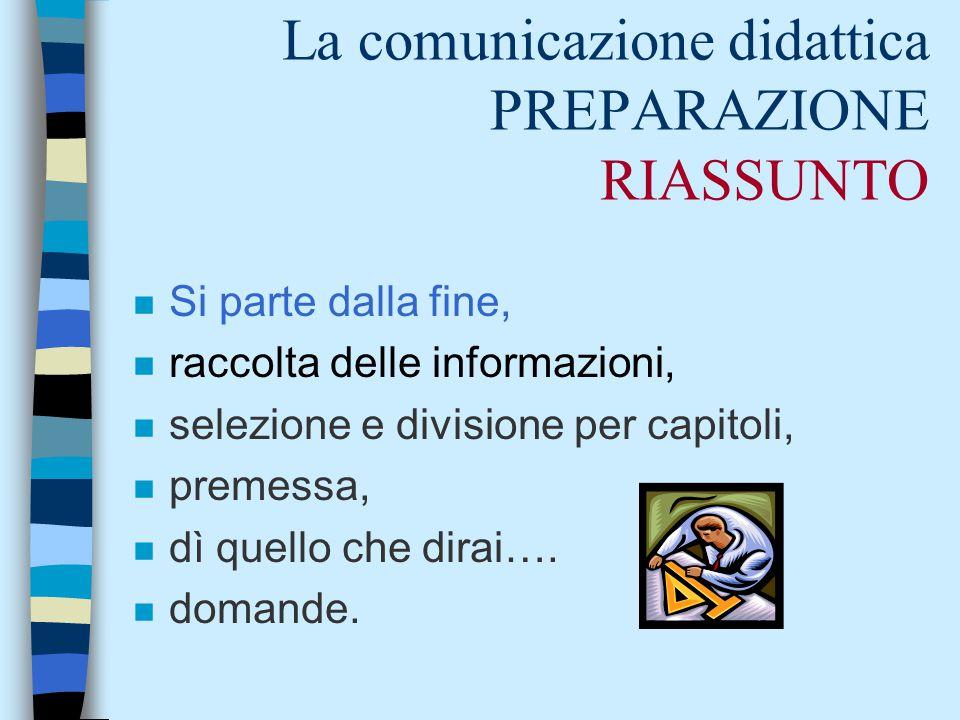La comunicazione didattica PREPARAZIONE RIASSUNTO n Si parte dalla fine, n raccolta delle informazioni, n selezione e divisione per capitoli, n premessa, n dì quello che dirai….