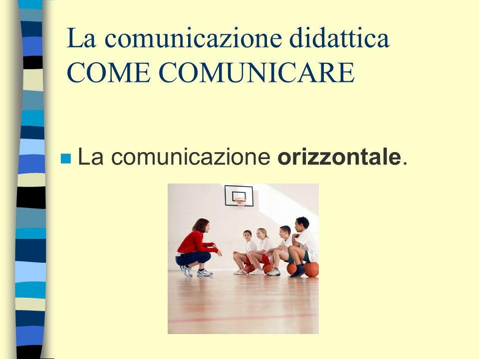 La comunicazione didattica COME COMUNICARE n La comunicazione orizzontale.