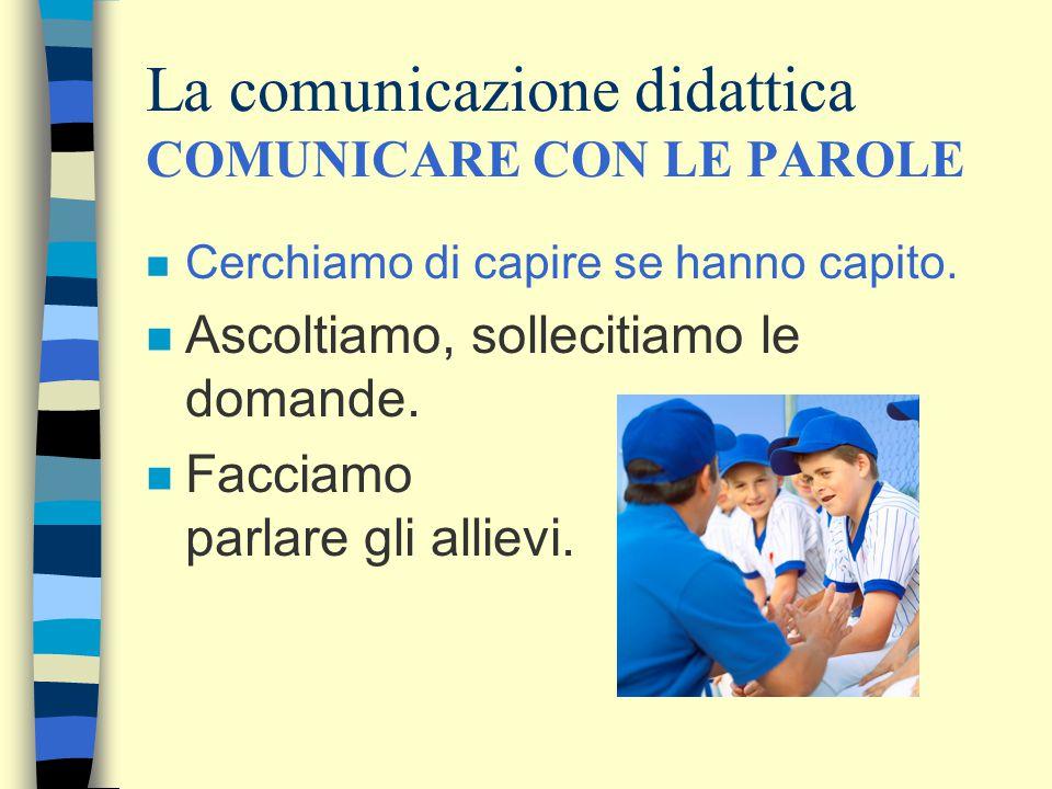 La comunicazione didattica COMUNICARE CON LE PAROLE n Cerchiamo di capire se hanno capito.