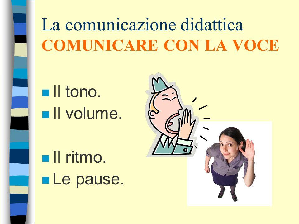 La comunicazione didattica COMUNICARE CON LA VOCE n Il tono. n Il volume. n Il ritmo. n Le pause.