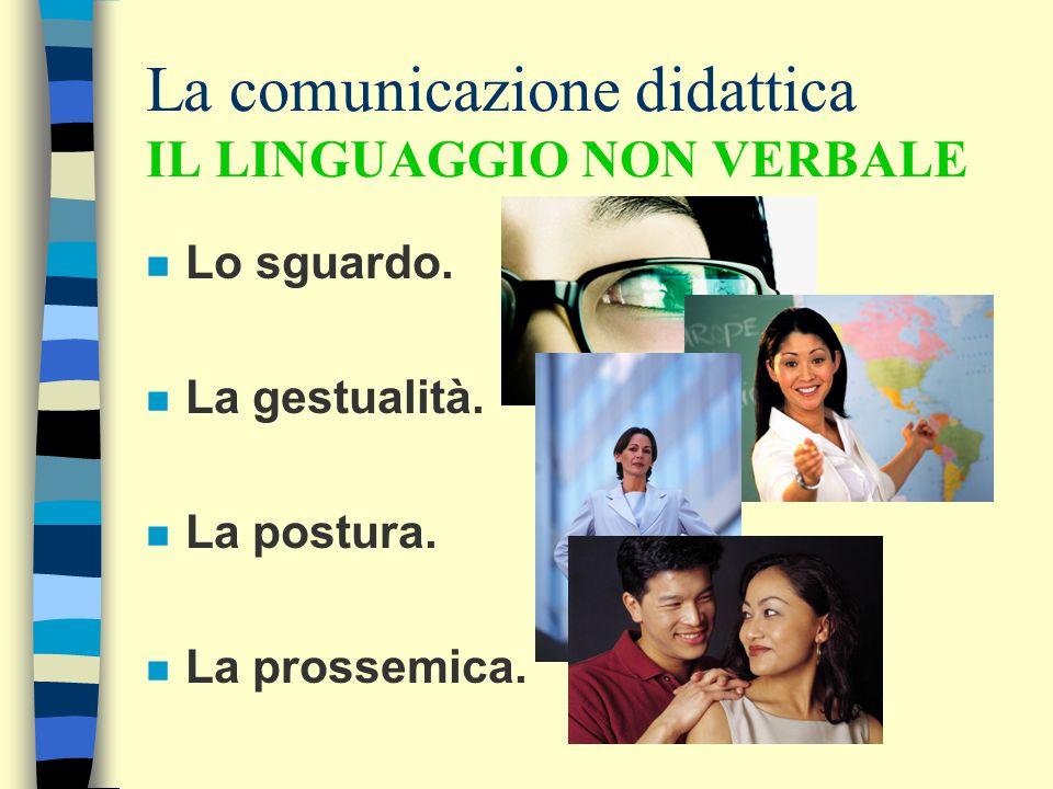La comunicazione didattica IL LINGUAGGIO NON VERBALE n Lo sguardo. n La gestualità. n La postura. n La prossemica.