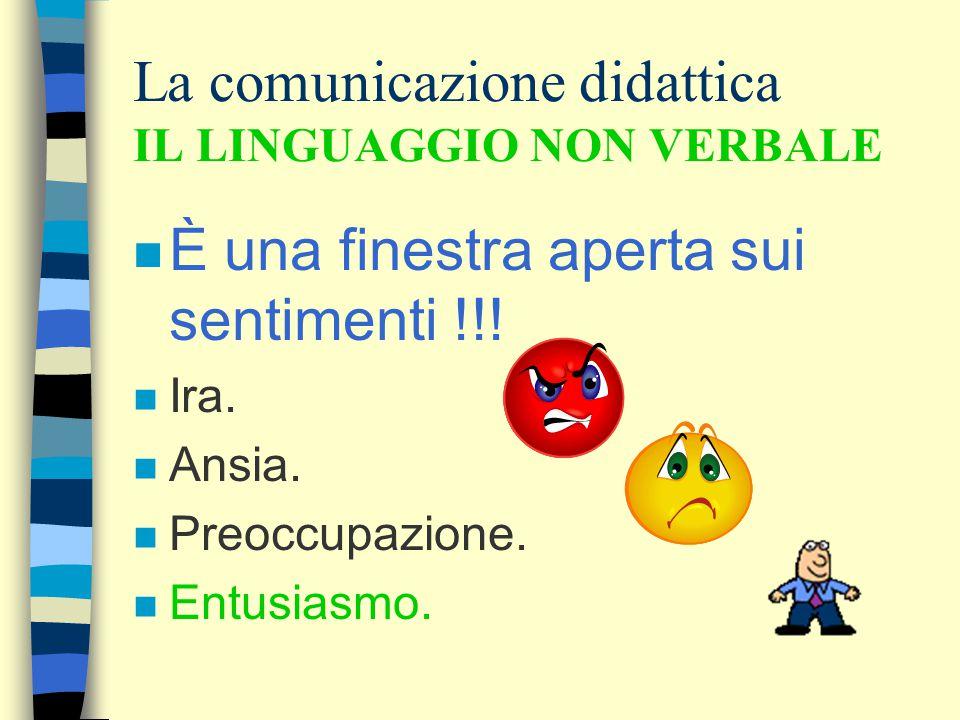 La comunicazione didattica IL LINGUAGGIO NON VERBALE n È una finestra aperta sui sentimenti !!! n Ira. n Ansia. n Preoccupazione. n Entusiasmo.