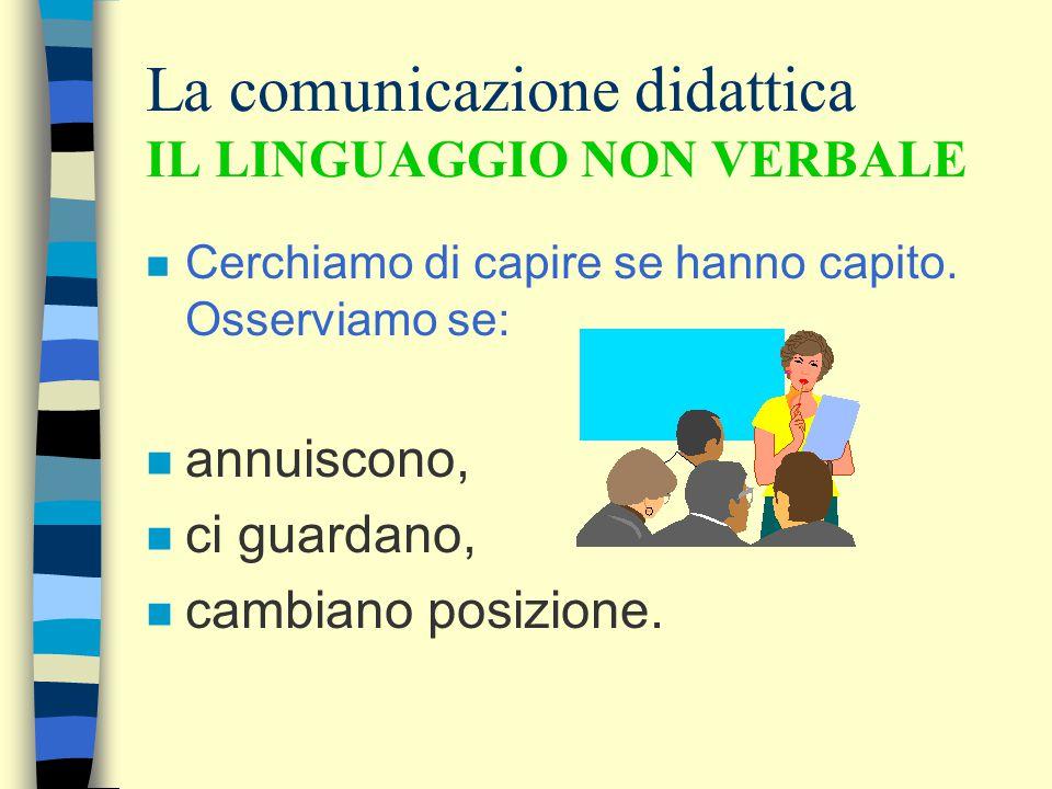 La comunicazione didattica IL LINGUAGGIO NON VERBALE n Cerchiamo di capire se hanno capito.