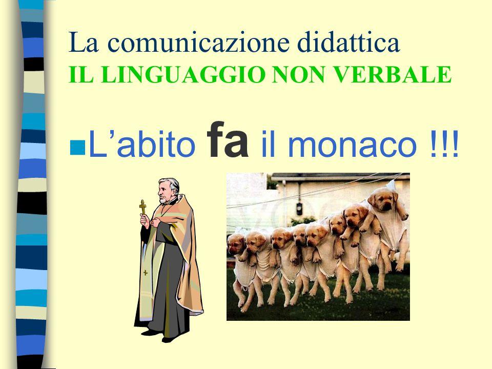 La comunicazione didattica IL LINGUAGGIO NON VERBALE n L'abito fa il monaco !!!
