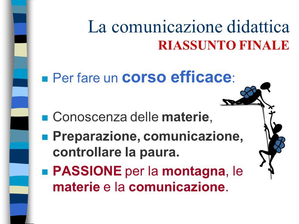 La comunicazione didattica RIASSUNTO FINALE n Per fare un corso efficace : n Conoscenza delle materie, n Preparazione, comunicazione, controllare la paura.