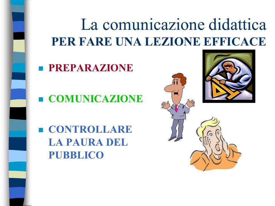La comunicazione didattica PER FARE UNA LEZIONE EFFICACE n PREPARAZIONE n COMUNICAZIONE n CONTROLLARE LA PAURA DEL PUBBLICO