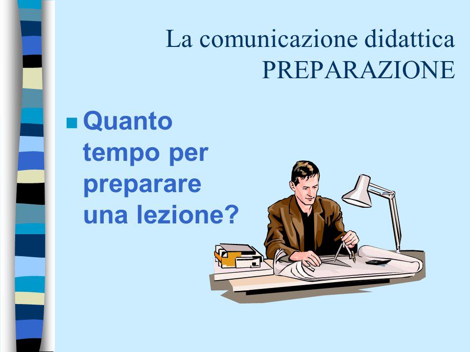 La comunicazione didattica PREPARAZIONE n Quanto tempo per preparare una lezione?