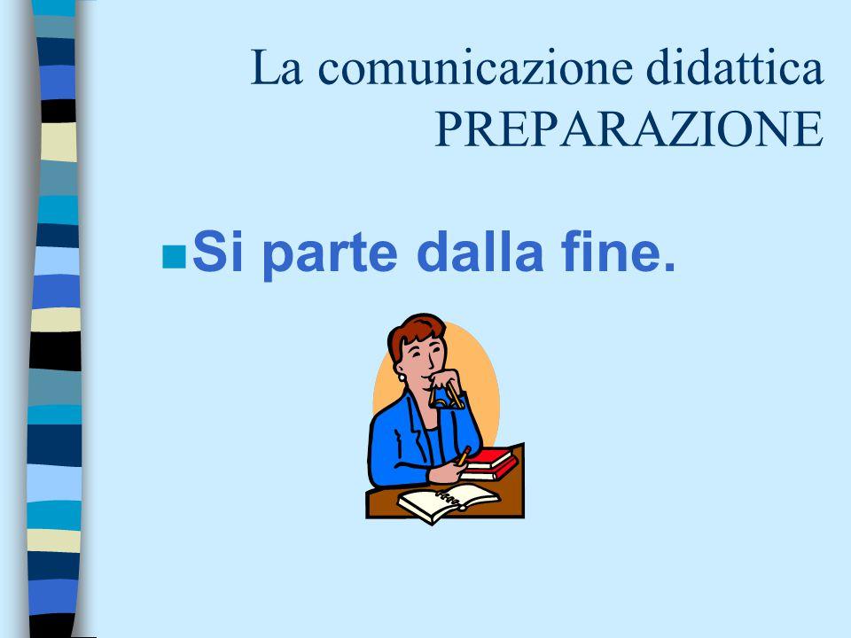 La comunicazione didattica PREPARAZIONE n Si parte dalla fine.