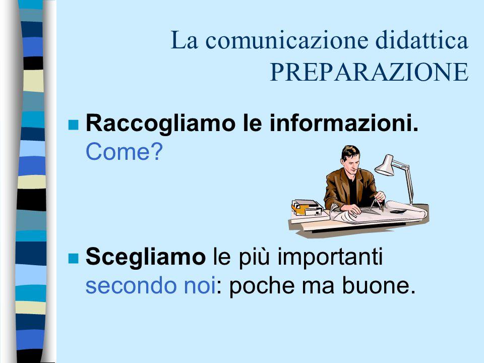 La comunicazione didattica PREPARAZIONE n Raccogliamo le informazioni. Come? n Scegliamo le più importanti secondo noi: poche ma buone.