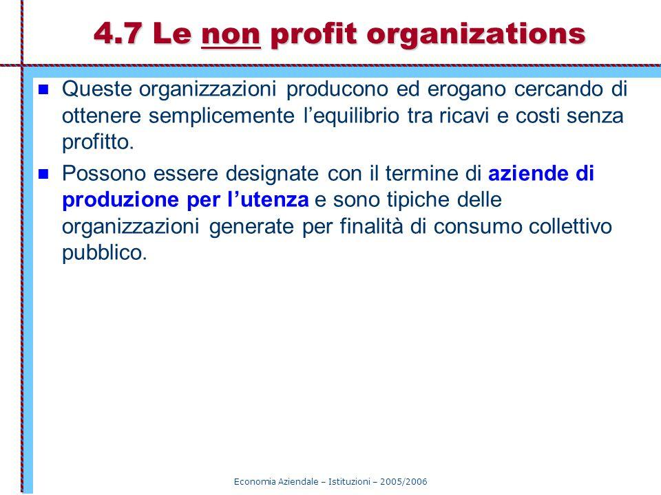 Economia Aziendale – Istituzioni – 2005/2006 4.7 Le non profit organizations Queste organizzazioni producono ed erogano cercando di ottenere semplicem