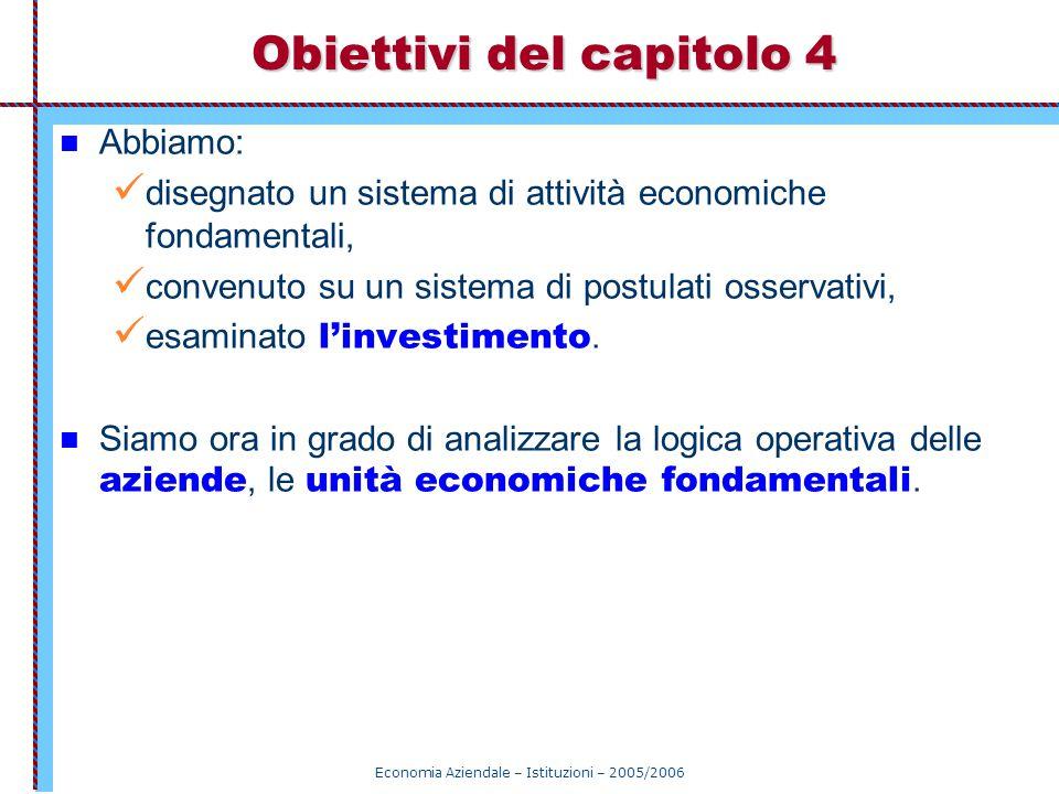 Economia Aziendale – Istituzioni – 2005/2006 Obiettivi del capitolo 4 Abbiamo: disegnato un sistema di attività economiche fondamentali, convenuto su