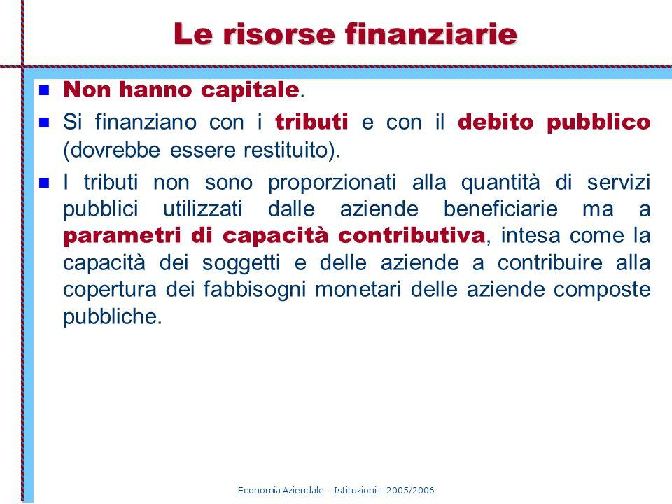 Economia Aziendale – Istituzioni – 2005/2006 Le risorse finanziarie Non hanno capitale. Si finanziano con i tributi e con il debito pubblico (dovrebbe
