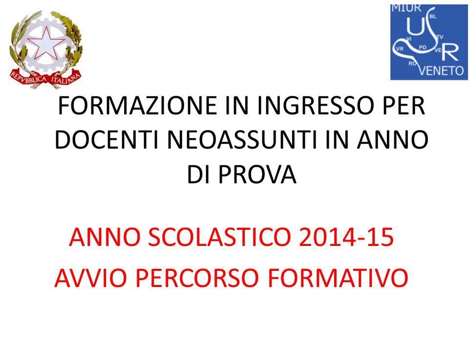 FORMAZIONE IN INGRESSO PER DOCENTI NEOASSUNTI IN ANNO DI PROVA ANNO SCOLASTICO 2014-15 AVVIO PERCORSO FORMATIVO