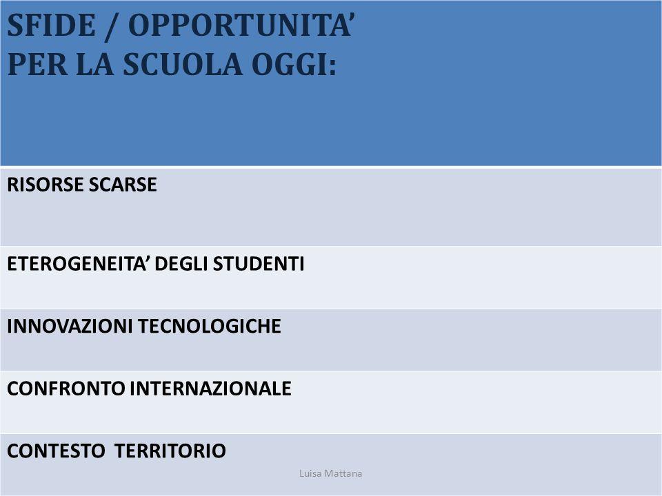 SFIDE / OPPORTUNITA' PER LA SCUOLA OGGI: RISORSE SCARSE ETEROGENEITA' DEGLI STUDENTI INNOVAZIONI TECNOLOGICHE CONFRONTO INTERNAZIONALE CONTESTO TERRIT