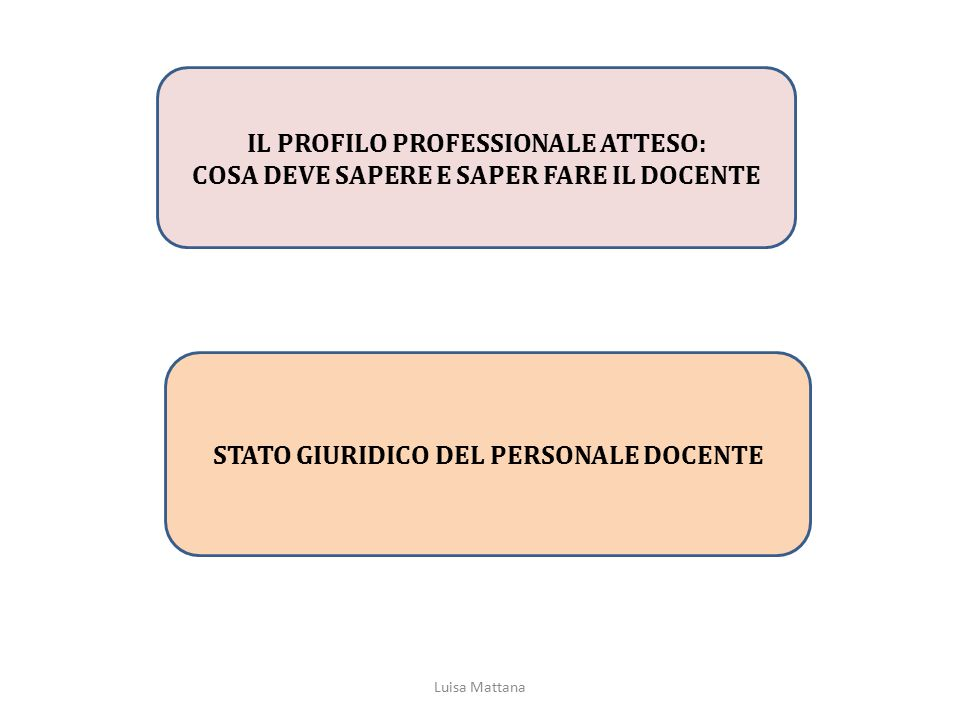 IL PROFILO PROFESSIONALE ATTESO: COSA DEVE SAPERE E SAPER FARE IL DOCENTE STATO GIURIDICO DEL PERSONALE DOCENTE Luisa Mattana