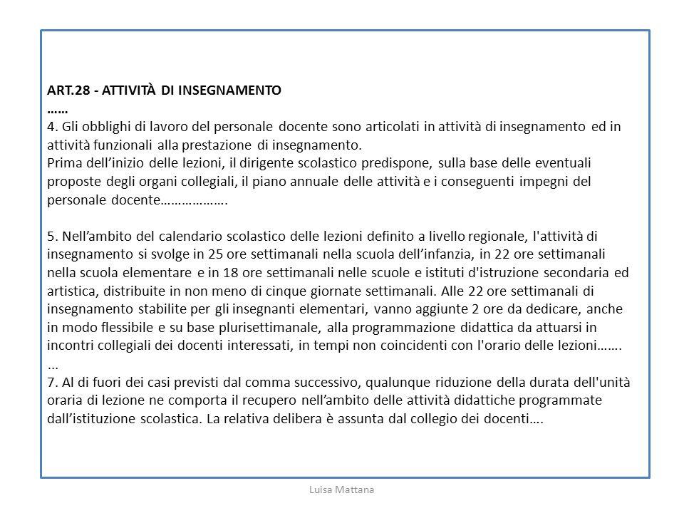 ART.28 - ATTIVITÀ DI INSEGNAMENTO …… 4. Gli obblighi di lavoro del personale docente sono articolati in attività di insegnamento ed in attività funzio