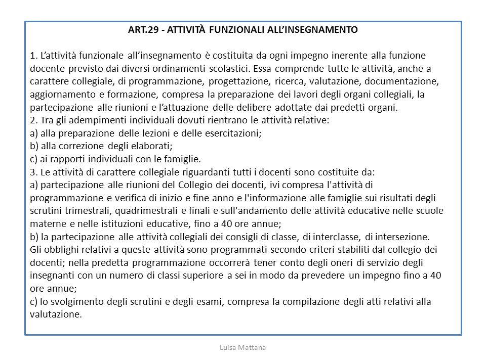 ART.29 - ATTIVITÀ FUNZIONALI ALL'INSEGNAMENTO 1. L'attività funzionale all'insegnamento è costituita da ogni impegno inerente alla funzione docente pr